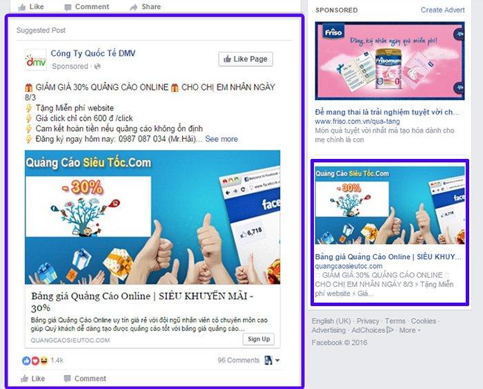 2 quang cao facebook pagetoweb Bảng giá quảng cáo Facebook