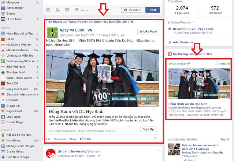3 quang cao facebook page like Bảng giá quảng cáo Facebook
